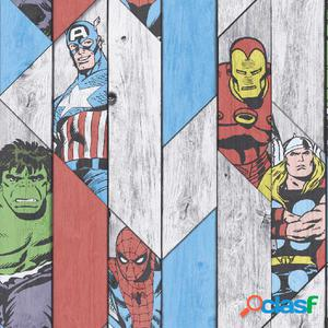 Kids at Home Papel de pared Marvel Wood gris 102435