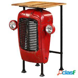 Mesa de bar de tractor madera maciza mango roja 60x60x107 cm