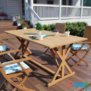 Mesa de comedor exterior de madera de teca maciza 180x90x75
