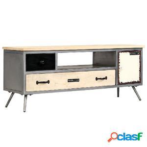 Mueble para TV de madera de mango maciza y acero 120x30x45