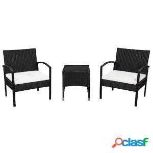 Set de mesa y sillas jardín ratán sintético negro blanco