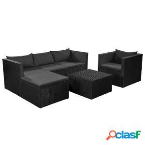 Set de sofás de jardín 13 piezas poliratán negro y gris