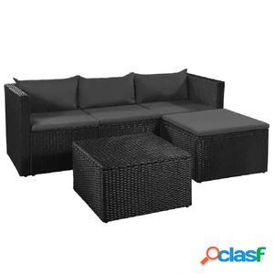 Set de sofás jardín ratán sintético negro gris oscuro 10