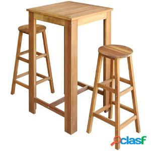 Set mesa de bar y taburetes 3 piezas de madera de acacia