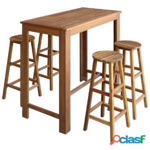 Set mesa de bar y taburetes 5 piezas de madera de acacia