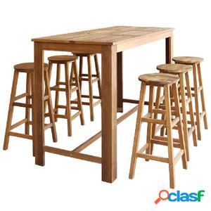 Set mesa de bar y taburetes 7 piezas de madera de acacia