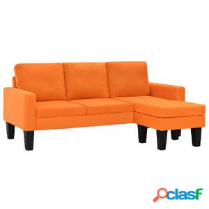 Sofá de 3 plazas con otomana de tela naranja