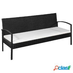 Sofá de 3 plazas ratán 158x58x72 cm negro y blanco crema