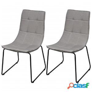 2 sillas de comedor gris claro con patas de acero
