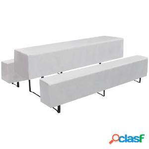 3 fundas blancas para una mesa alargada y 2 bancos, 225 x 70