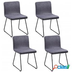 4 sillas de comedor de tela gris oscuro con patas de acero