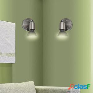 Aplique lámpara de pared LED, níquel satinado, 2 uds.