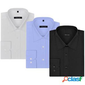 Camisas de vestir de hombre 3 uds M blanco/negro/azul claro
