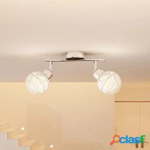 Lámpara de techo con dos globos de vidrio, bombilla