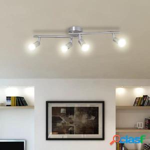 Lámpara de techo de níquel satinado con cuatro focos