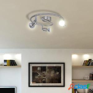 Lámpara de techo de níquel satinado con tres focos