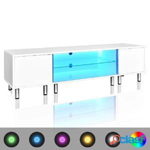 Mesita para TV color blanco brillante con luces LED, 160 cm