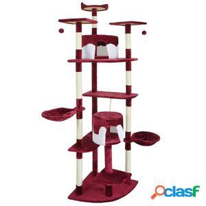 Poste rascador para gatos 213 cm rojo y blanco