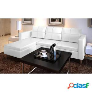 Sofá modular de 3 plazas de cuero blanco