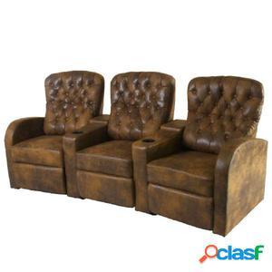 Sofá reclinable 3 plazas cuero artificial marrón