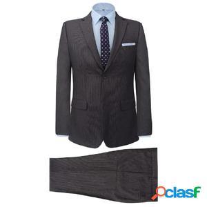 Traje de chaqueta de hombre de dos piezas gris a rayas talla