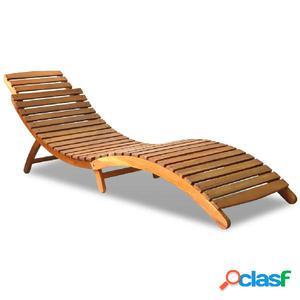Tumbona de madera de acacia maciza 190x60x51 cm marrón