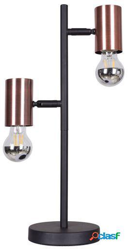 Wellindal Lámpara de sobreMesa dual-negro y cobre 27x15x50