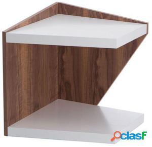 Wellindal Mesa de centro geozag-blanco y madera 50x50x55