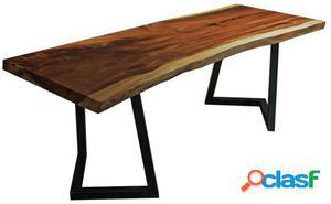 Wellindal Mesa de comedor -madera maciza- rustic