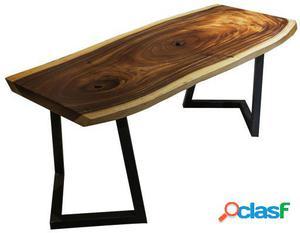 Wellindal Mesa de comedor -madera maciza- rustic bosky-nogal
