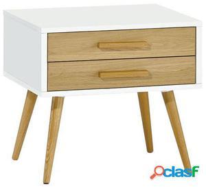 Wellindal Mesita de noche geira-blanco y madera 50x40x55