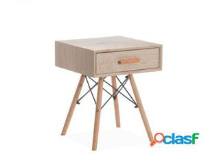 Wellindal Mesita de noche wooden -cajón--roble aclarado