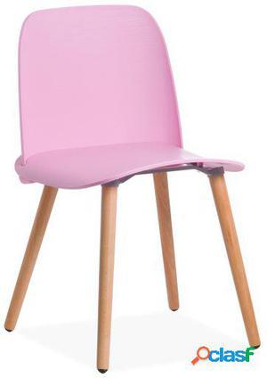Wellindal Silla aura wooden-rosa claro 48x48x76