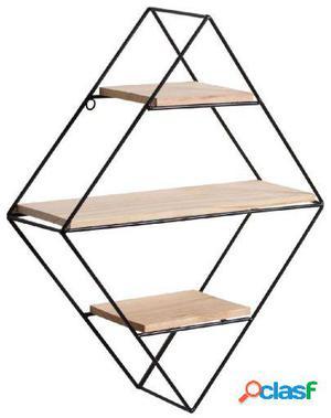 Wellindal estantería decorativa diamond-negro y madera