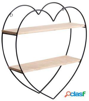 Wellindal estantería decorativa heart-negro y madera