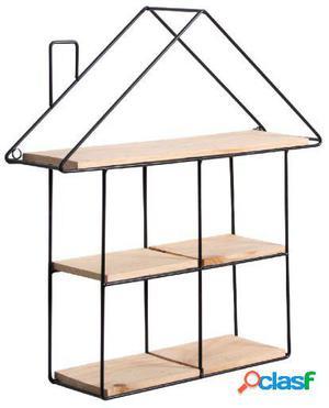 Wellindal estantería decorativa house-negro y madera