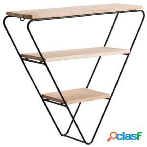 Wellindal estantería decorativa triangle-negro y madera