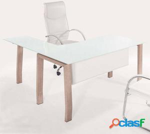 Wellindal mesa despacho blake cristal blanco patas oak.