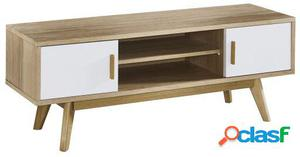 Wellindal mueble tv lille-blanco y madera 120x40x45