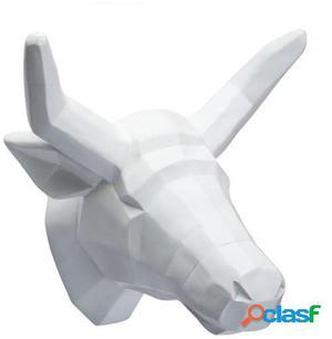 Wellindal trofeo de pared cow -geometric version--blanco