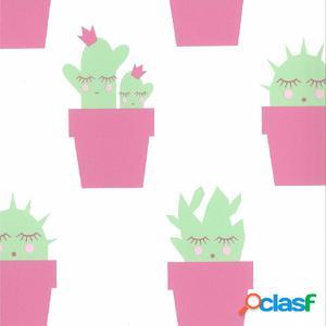 Fabulous World Papel de pared diseño Cactus blanco y rosa