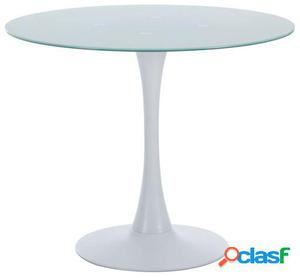 Mesa Lohi glass 90-blanco 90x90x72