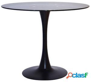 Mesa Lohi glass 90-negro 90x90x72