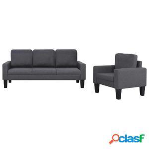 Juego de sofás de tela gris oscuro 2 piezas