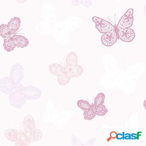Kids at Home Papel de pared Butterfly rosa 100114