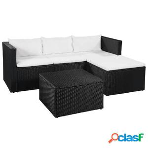 Set sofás de jardín ratán sintético negro blanco crema