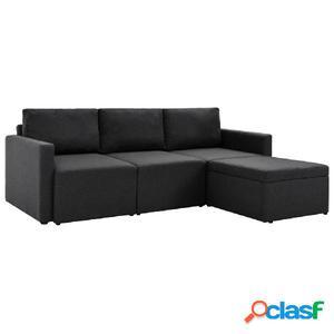 Sofá cama extraíble de tela 3 plazas gris oscuro