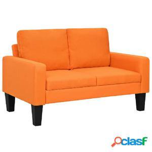 Sofá de 2 plazas de tela naranja