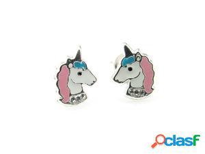 Pendientes unicornio en plata de ley