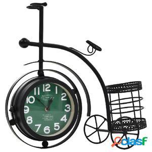 Reloj de pared doble cara con forma de triciclo vintage